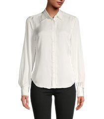 frame women's silk button-down blouse - white - size l