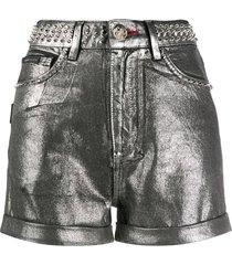 philipp plein metallic-print studded shorts - silver