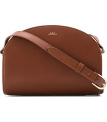 a.p.c. demi lune logo crossbody bag - brown