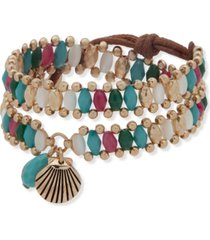 lonna & lilly gold-tone shell & multicolor bead wrap bracelet