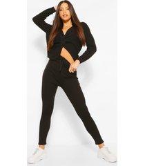 tall trui met gedraaide rug & leggings lounge set, black