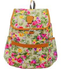 mochila real arte saco florido bege e rosa