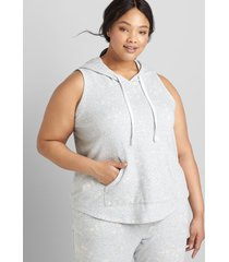 lane bryant women's livi sleeveless hooded sweatshirt - bleach splatter 38/40 heather gray