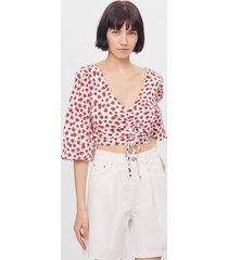blouse met bloemenprint en knoop