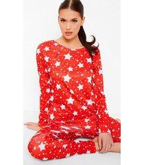 jersey sterrenprint pyjama set, red