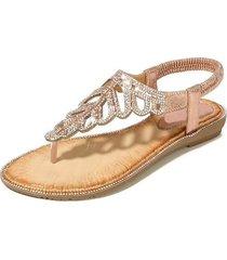 sandalias de playa con cuentas de diamantes de imitación para mujer-rosa