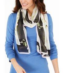 calvin klein peony logo-print scarf