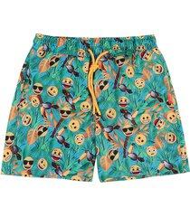 pantaloneta de baño multicolor emoji en tejido plano emol08