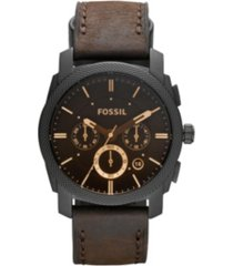 fossil machine mid-size chronograph brown leather watch 42mm