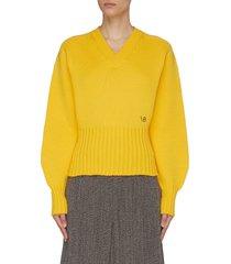 seamless v-neck wool sweater