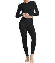 conjunto traje deportivo gimnasio yoga malla 3014 negro