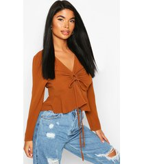 petite ruched detail woven top, rust