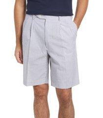 berle pleated seersucker shorts, size 40 in navy at nordstrom
