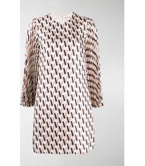 valentino monogram-print silk-satin mini dress