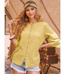 camicetta casual da donna con collo a pieghe con bottoni estivi