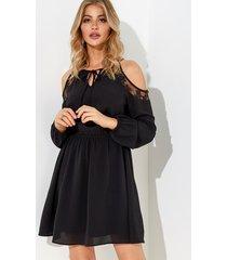negro con cordones diseño hombro frío mangas largas encaje vestido