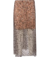 self-portrait leaf sequin midi skirt