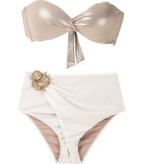 adriana degreas floral appliqué bikini set - white