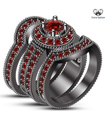 14k black gold finish 925 silver round cut red garnet womens engagement ring set