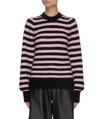 puffed sleeves stripe wool sweater