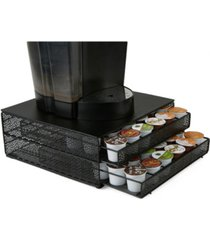 mind reader 72 capacity double k-cup storage tray with flower pattern metal mesh