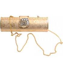 clutch smm acessórios dourada floral
