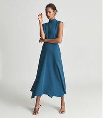reiss livvy - open back midi dress in teal, womens, size 14