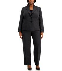 le suit plus size two-button straight-leg pantsuit