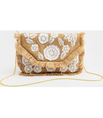 kami straw embellished clutch - natural