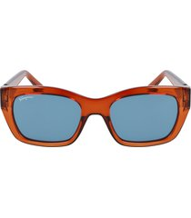 salvatore ferragamo 53mm rectangular sunglasses in crystal caramel/petrol at nordstrom