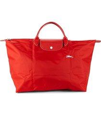 longchamp women's le pliage club leather-trim travel bag - vermilion