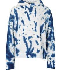 hot cc tie-dye print hoodie true blue