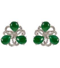 diamond jade 18k white gold swirl stud earrings