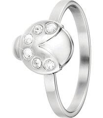 anello coccinella in acciaio rodiato e cristalli per donna
