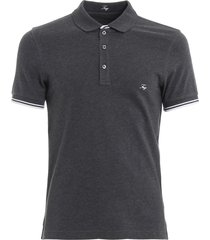 fay striped trim stretch cotton polo shirt