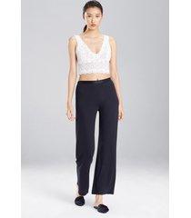 jersey essentials pants pajamas, women's, black, 100% silk, size l, josie natori