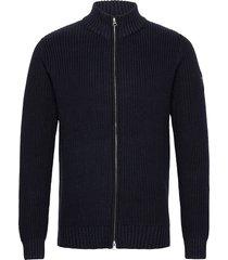 alfie organic cotton zip cardigan gebreide trui cardigan blauw lexington clothing