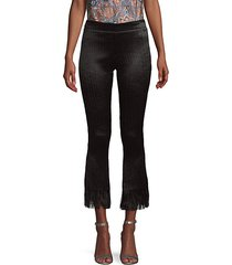 frayed cotton-blend cropped pants