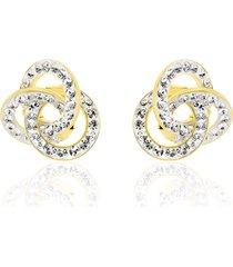 orecchini a lobo in oro e cristalli per donna