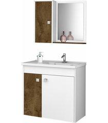 conjunto p/ banheiro munique branco/madeira mã³veis bechara - branco - dafiti