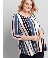 lane bryant women's 3/4-sleeve high-low swing tunic 14/16 multi stripe