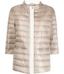 herno funnel-neck quilted-down jacket - neutrals