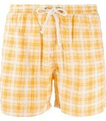kiton short de natação com estampa xadrez - amarelo