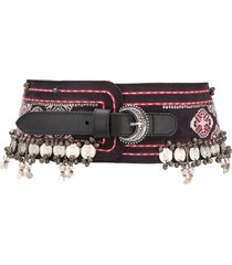 etro embroidered wide belt - black