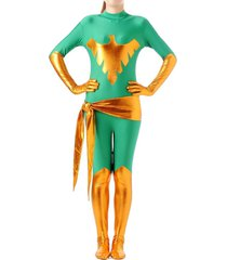shiny metallic phoenix unitard bodysuit catsuit zentai suit for women green