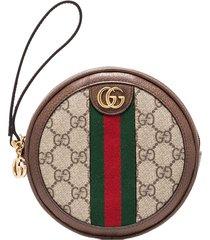 gucci gg supreme round clutch bag - brown