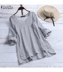zanzea tallas grandes mujer manga larga cuadros a cuadros asimétrico dobladillo blusa camisa tops plus -gris