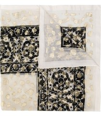 yves saint laurent pre-owned floral pattern scarf - white