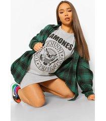 gelicenseerd ramones t-shirtjurk, grey