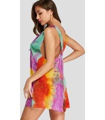 fashion tie dye diseño mini escote en v sin espalda vestido